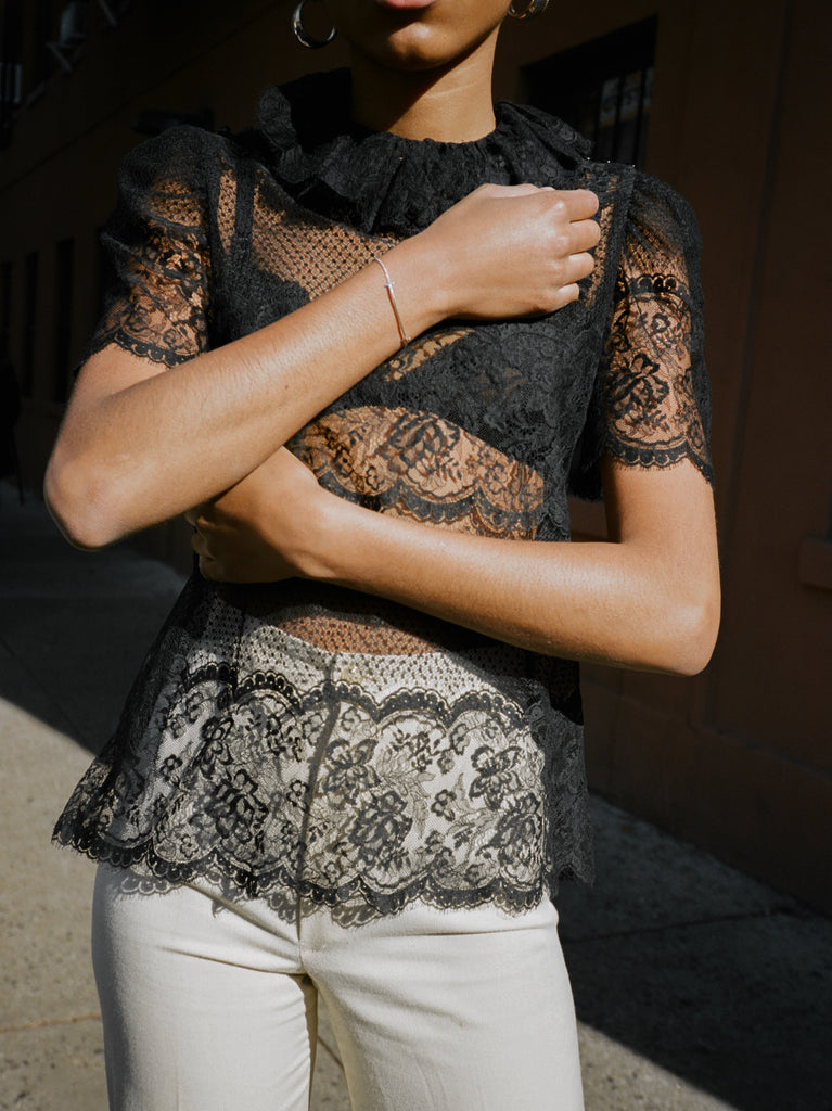Puff Sleeve Sheer Lace Top