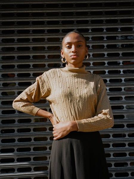 Silk Cable Knit Turtleneck