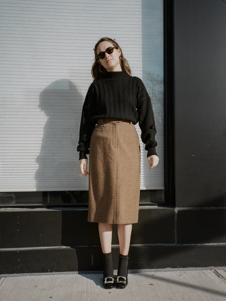 Tweed Wool Pencil Skirt