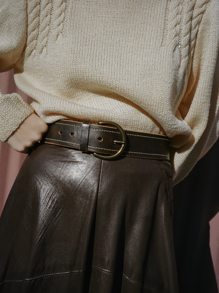 Espresso Leather Belt