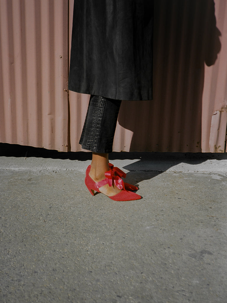 Satin Ribbon Red Suede Shoes