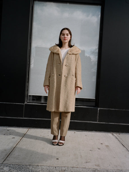 Latte Fur Trim Boucle Coat