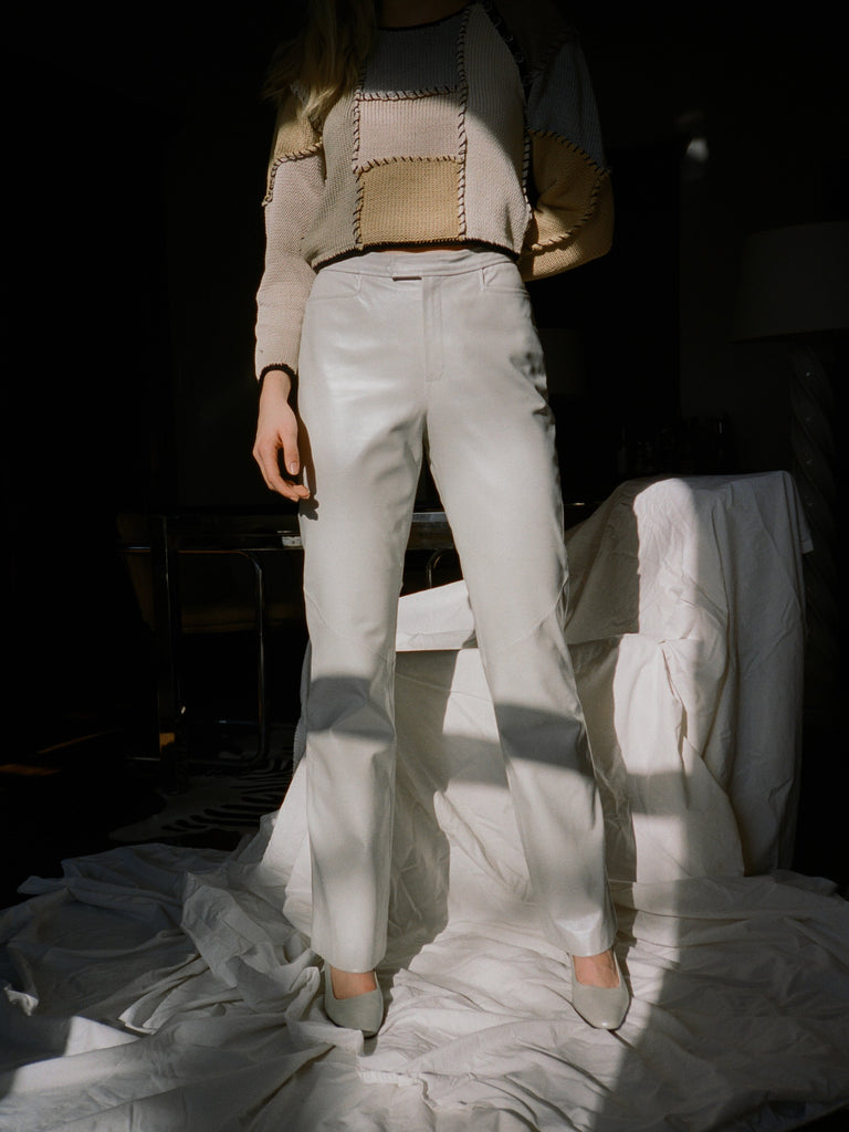 Pearlescent Leather Pants