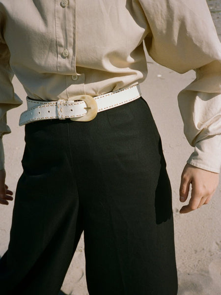 White Stitched Belt