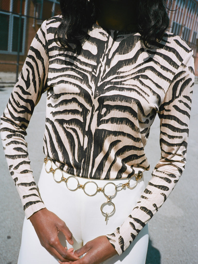 Zebra Silk Knit Top