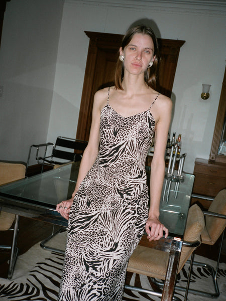 Animal Print Silk Column Dress