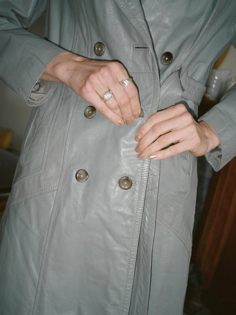 70s Blue Leather Trench