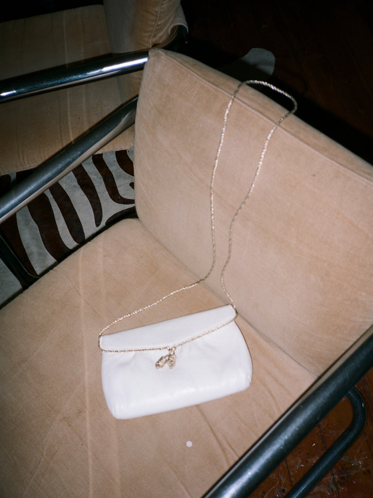 Metallic Trim White Leather Purse
