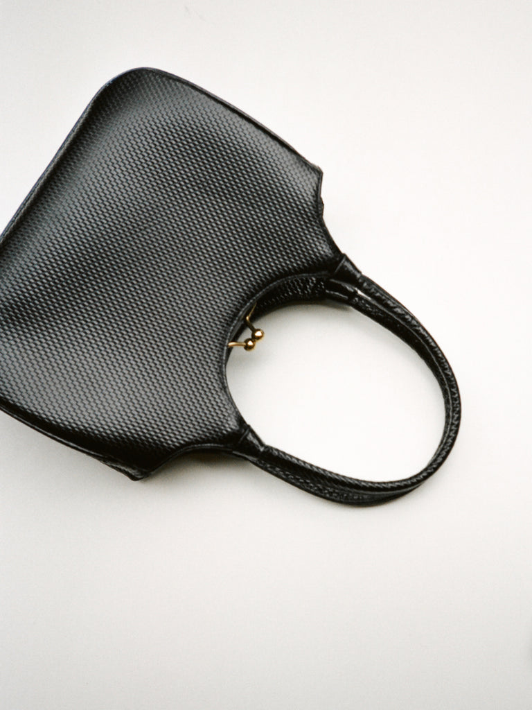 Pebbled Black Leather Handbag