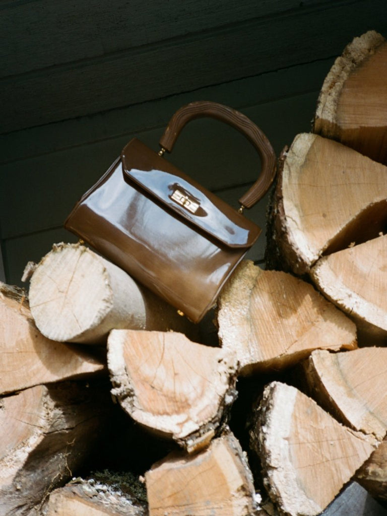 'Wood' Handle Patent Bag