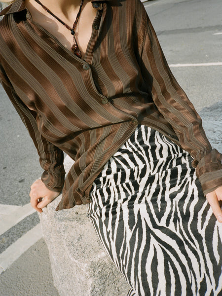 Satin Stripe Silk Blouse