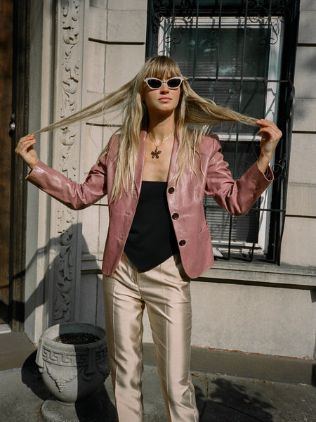 Mauve Leather Blazer