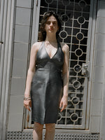 Gunmetal Leather Halter Dress