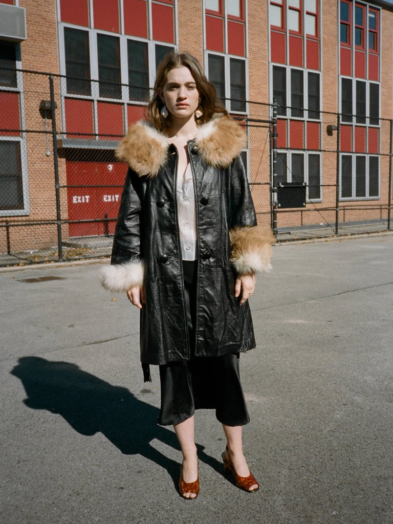 Fur Trimmed Leather Coat