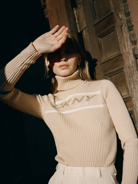 DKNY Ribbed Cotton Turtleneck