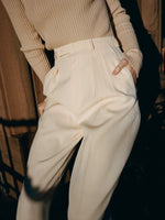 Yves Saint Laurent Cream Wool Pants