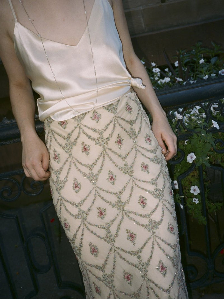 Ralph Lauren Beaded Silk Skirt