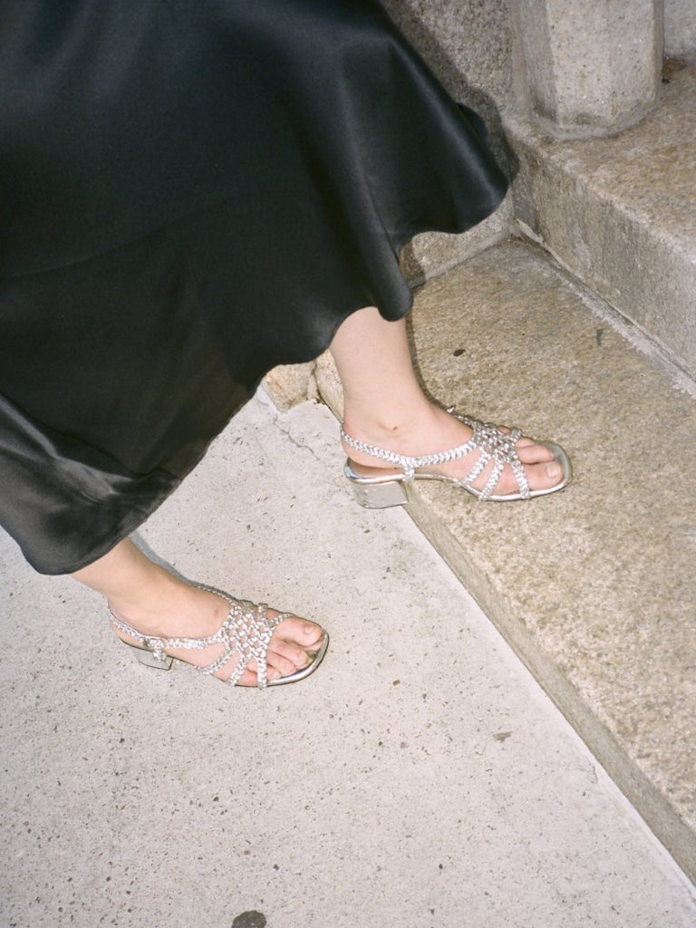Braided Silver Metallic Sandals (6.5)