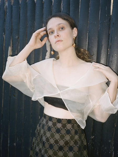 Cropped Silk Organza Blouse