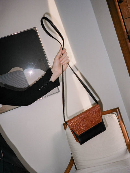 Two Tone Crocodile Leather Bag