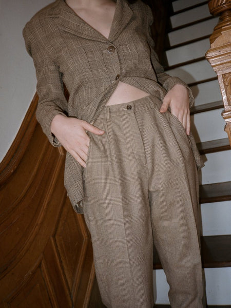 Pleated Check Trousers