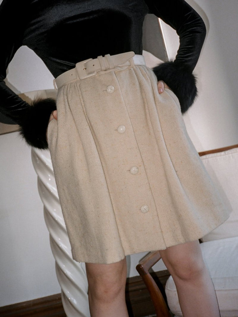 Michael Kors Buttoned Cream Skirt