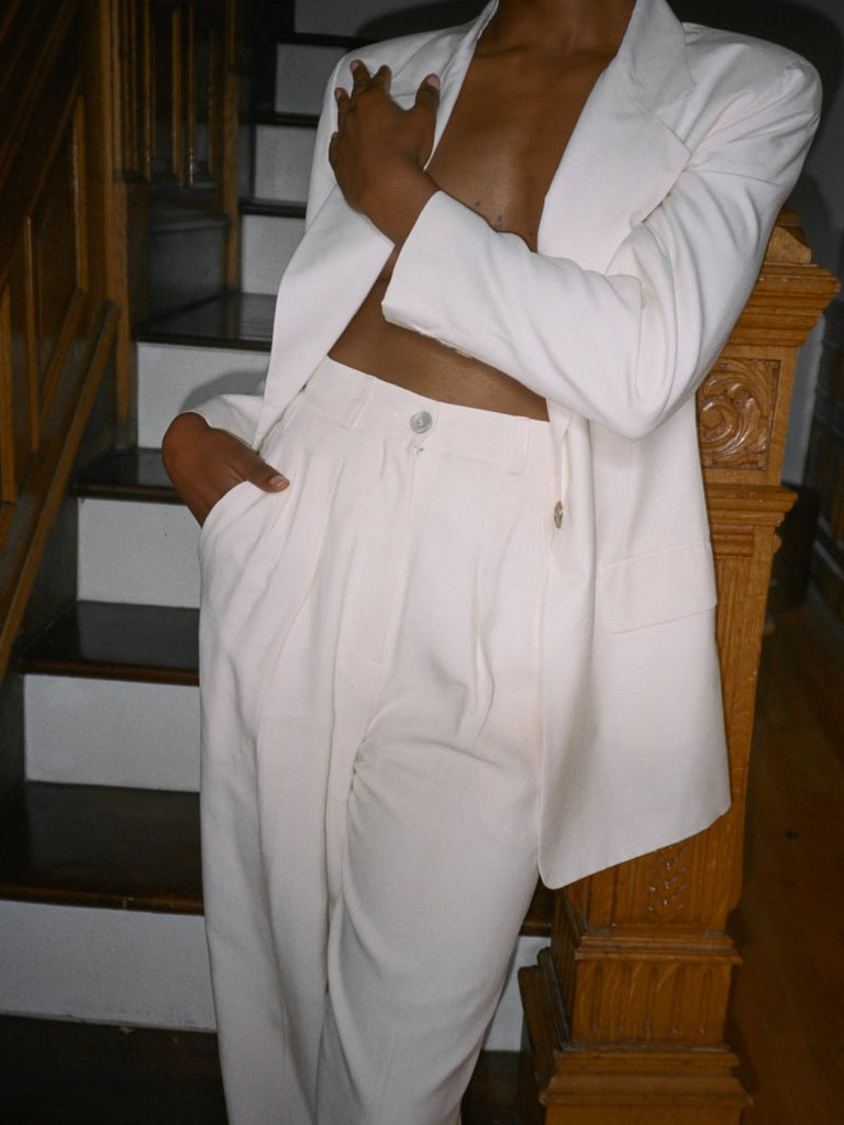 White Silk Suit
