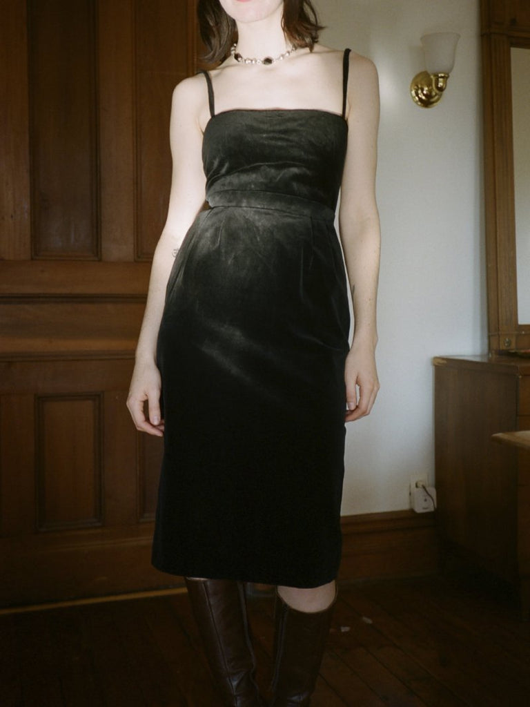 Claude Montana Velvet Pencil Skirt