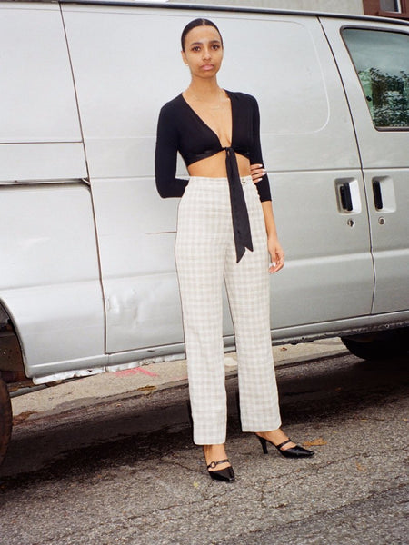 High Waist Pastel Plaid Trousers