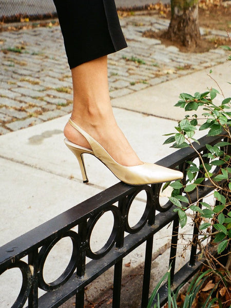 Champagne Patent Slingbacks