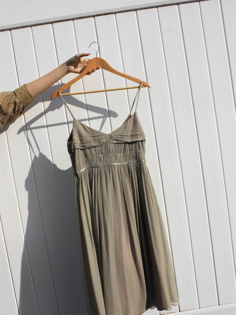 Sage Silk Chiffon Dress