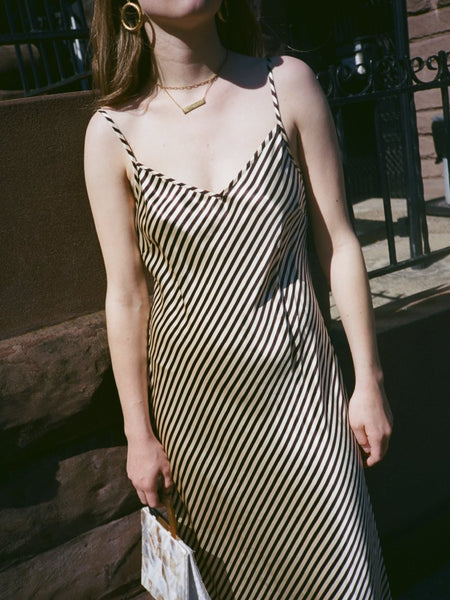 Striped Silk Slipdress