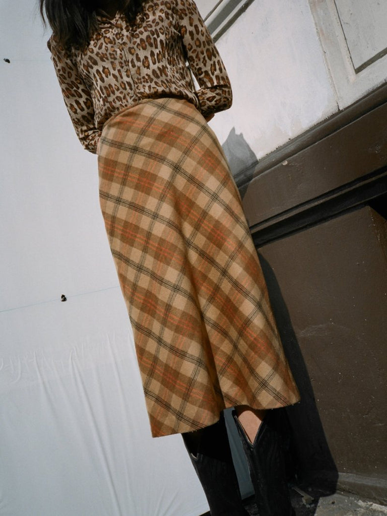 Bias Cut Plaid Skirt