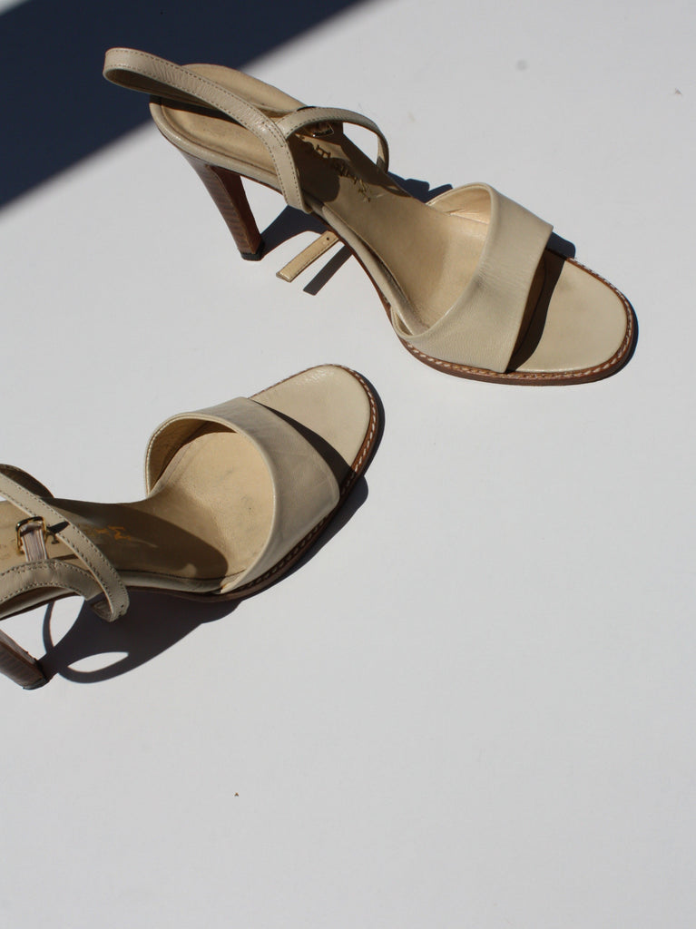 Ivory Heeled Leather Sandals (7)