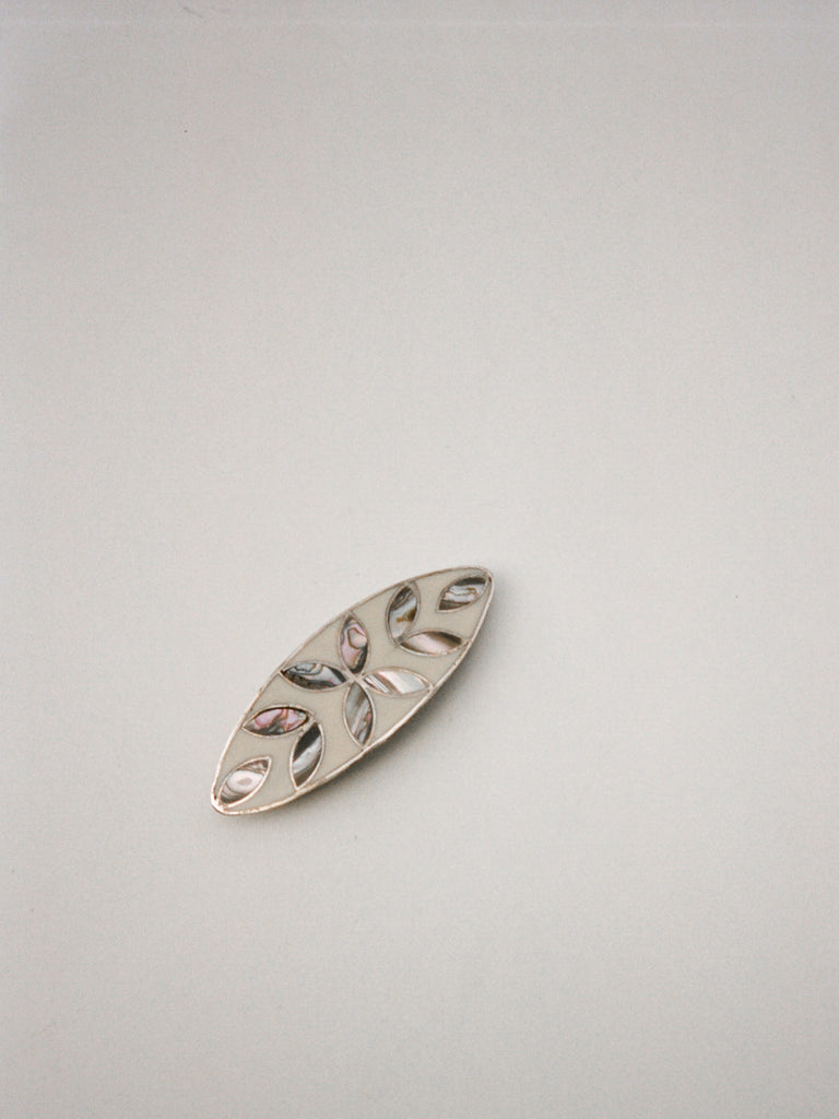 Sterling Silver Inlaid Barrette