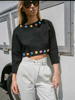 Satin Button Cropped Knit