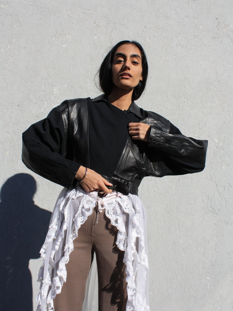 Cropped Leather Trim Bomber