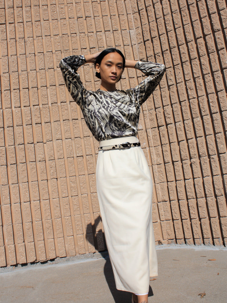 Cream Wool Midi Skirt