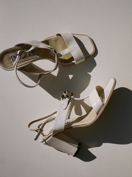 T-Strap White Leather Sandals