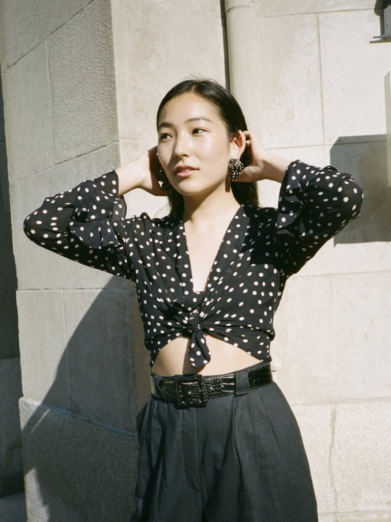 Silk Polka Dot Tie Top