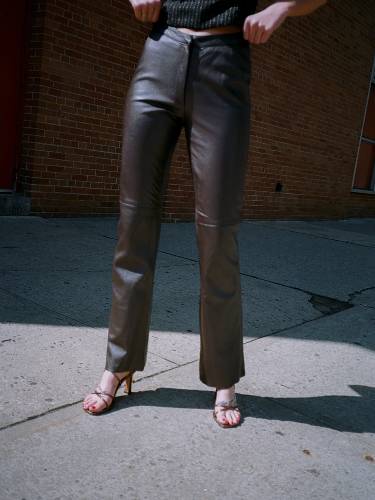 Chocolate Leather Flares