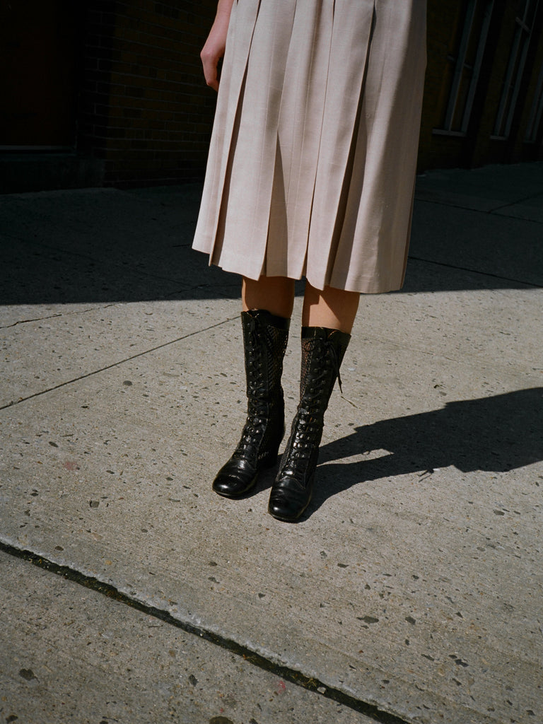 60s Perforated Leather Boots