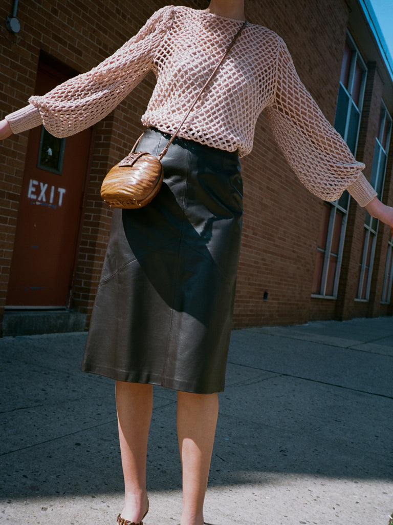 Espresso Leather Skirt
