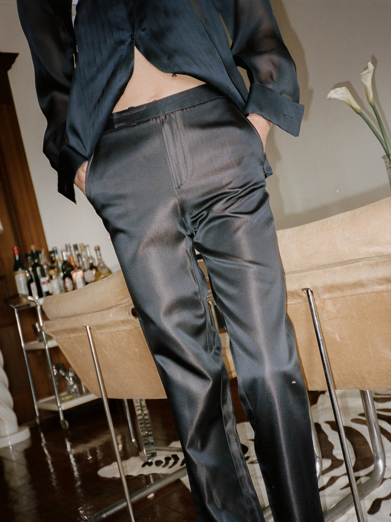 Iridescent Navy Silk Pants