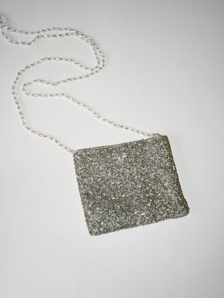 Beaded Silver Mini Bag