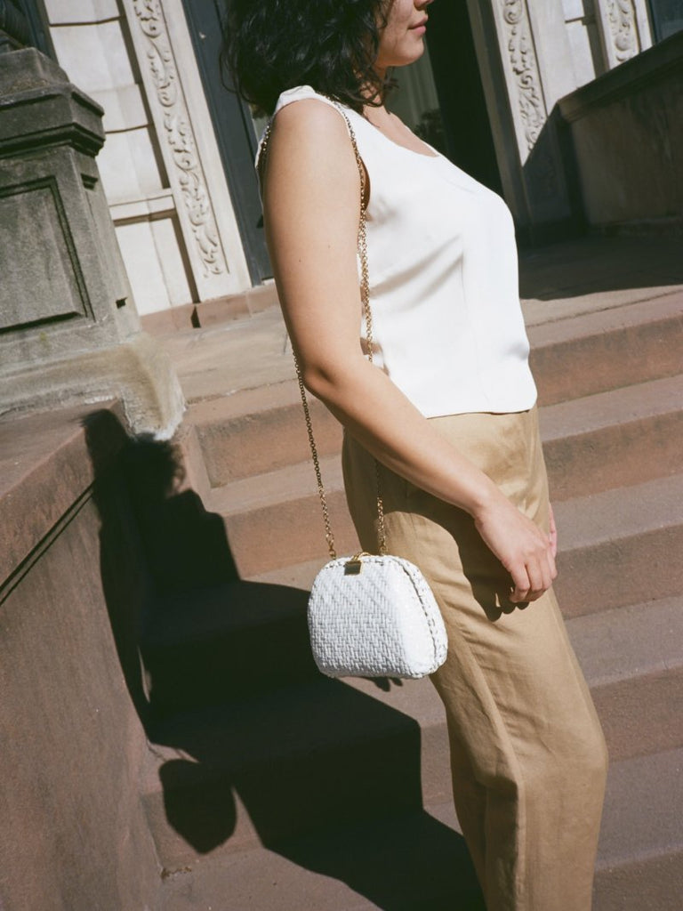 Lacquered White Straw Bag