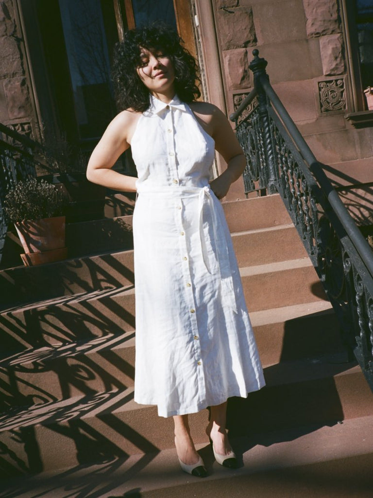 White Linen Shirtdress