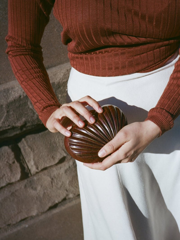 Wooden Scallop Shell Clutch