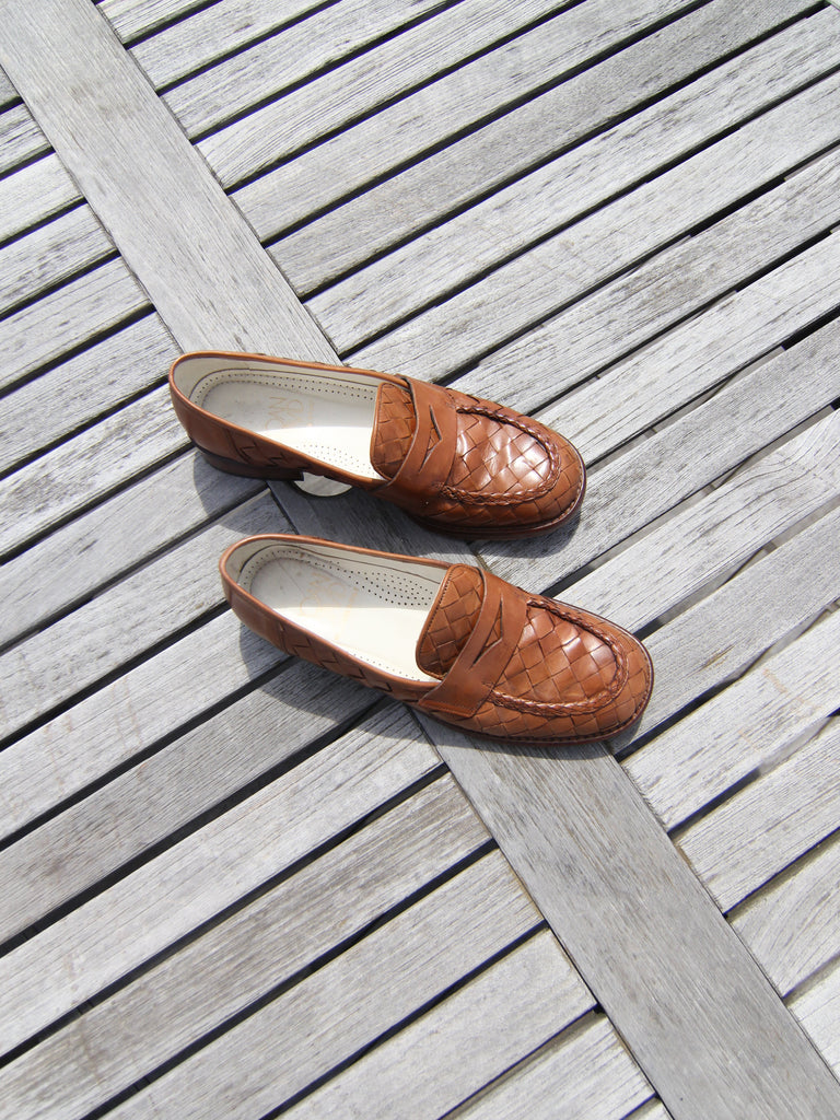 Woven Leather Loafers (38.5)