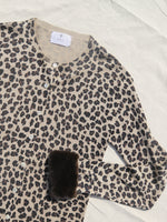 Fur Trimmed Leopard Silk Cardigan